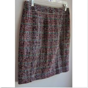 BANANA REPUBLIC Tweed Skirt 4 Pink Black Lined